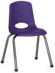 16''H Vented Back Stacking Chair with Matching Seat and Ball Glides with Chrome Legs - Purple [ELR-0195-PU-ECR]