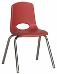 16''H Vented Back Stacking Chair with Chrome Legs and Nylon Swivel Glides - Red [ELR-0195-RDG-ECR]