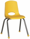 16''H Vented Back Stacking Chair with Matching Seat and Ball Glides with Chrome Legs - Yellow [ELR-0195-YE-ECR]