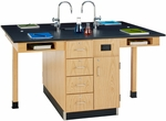 4 Station Wooden Science Center with 1'' Thick Black Epoxy Resin Top and Locking Drawers - Set of 4 Stations - 264''W x 48''D x 36''H [C2446K-DW]