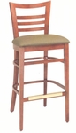 1636 Bar Stool w/ Upholstered Seat & Brass Trim Footrest - Grade 1 [1636-GRADE1-ACF]