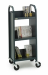 Single Sided Duro Book Truck with Slanted Shelves - 17''W x 14''D x 43''H [L33017-BRET]