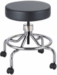 17'' H Adjustable Height Industrial Low Base Lab Stool with Screw Lift - Black [3432BL-FS-SAF]