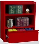 System Series 36'' W x 18'' D x 42'' H Two Shelf Welded Bookcase with File Drawer - Red [BD10-361842-01-EEL]
