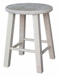 Solid Parawood Round 18''H Backless Stool - Unfinished [1S-518-FS-WHT]