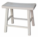 Solid Parawood 18''H Backless Saddle Seat Stool - Unfinished [1S-681-FS-WHT]