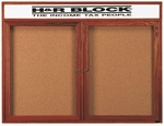 2 Door Enclosed Bulletin Board with Header and Cherry Finish - 36''H x 48''W [CBC3648RH-AA]