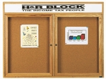 2 Door Enclosed Bulletin Board with Header and Oak Finish - 36''H x 48''W [OBC3648RH-AA]