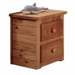 Rustic Style 23''W x 16''D Solid Pine 2 Drawer Nightstand - Mahogany Stain [31002-FS-CHEL]
