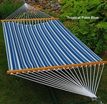 Polyester Fabric and Rope Pocket Design 11' Hammock - Palm Blue Stripe [2790W135-FS-ALG]