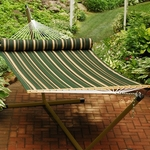 Reversible Quilted Polyester Fabric 13' Hammock with Matching Pillow - Green Stripe and Tan Solid [2930DL-FS-ALG]