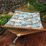 Reversible Quilted Polyester Fabric Pocket Design 13' Hammock - Esprit Robin Pattern and Robin Egg Solid [2789W7381-FS-ALG]