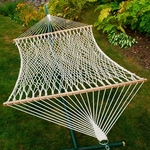 Natural Cotton Rope Two Person 13' Hammock - White [4902C-FS-ALG]