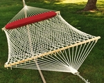 Natural Cotton Rope Two Person 13' Hammock with Bolster Pillow - White [4902CHSP-FS-ALG]