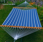 Polyester Fabric and Rope Pocket Design 13' Hammock - Tropical Palm Stripe Blue [2789W135-FS-ALG]