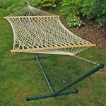 Natural Cotton Rope One Person Hammock with Steel Stand - White [6250-FS-ALG]