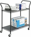 43.75'' W x 19.25'' D x 40.5'' H Two Shelf Wire Utility Cart - Black [5337BL-FS-SAF]