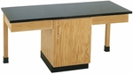 2 Station Wooden Science Table with 1.25'' Thick Black Plastic Laminate Top and Locking Cabinet - 66''W x 24''D x 30''H [2101K-DW]