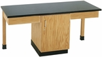 2 Station Wooden Science Table with 1'' Thick Black Phenolic Resin Top and Locking Cabinet - 66''W x 24''D x 30''H [2104K-DW]