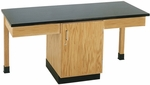2 Station Wooden Science Table with 1'' Thick Black Epoxy Resin Top and Locking Cabinet - 66''W x 24''D x 30''H [2106K-DW]