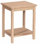 Portman Solid Parawood 16''W X 20''H Accent Table with Display Storage Shelf - Unfinished [OT-41-FS-WHT]