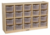 Birch 20 Cubby Tray Cabinet with 20 Clear Bins - 48''W x 13''D x 30''H