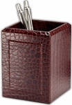 Crocodile Embossed Leather Pencil Cup - Brown [A2010-FS-DAC]