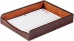 Crocodile Embossed Leather Letter Tray - Brown [A2001-FS-DAC]