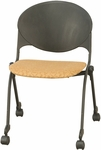2000 Series Stacking Multipurpose Steel Frame Polypropylene Chair with Upholstered Seat and Casters [FP2000-IFK]
