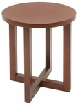 21'' Round Wooden End Table with X Base - Cherry [HWTE2123CH-FS-REG]