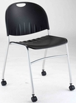 2100 Series Stacking Multipurpose Polypropylene Chair with Casters - Black [CS2100SL-IFK]