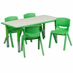 23.625''W x 47.25''L Rectangular Green Plastic Height Adjustable Activity Table Set with 4 Chairs [YU-YCY-060-0034-RECT-TBL-GREEN-GG]