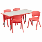 23.625''W x 47.25''L Rectangular Red Plastic Height Adjustable Activity Table Set with 4 Chairs [YU-YCY-060-0034-RECT-TBL-RED-GG]