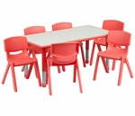 23.625''W x 47.25''L Rectangular Red Plastic Height Adjustable Activity Table Set with 6 Chairs [YU-YCY-060-0036-RECT-TBL-RED-GG]