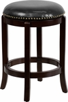 24'' High Backless Cappuccino Wood Counter Height Stool with Black Leather Swivel Seat [TA-68924-CA-CTR-GG]