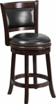 24'' High Cappuccino Wood Counter Height Stool with Black Leather Swivel Seat [TA-61024-CA-CTR-GG]