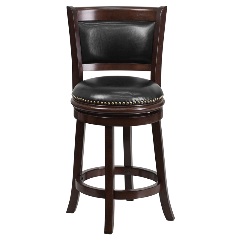 24 High Cappuccino Wood Counter Height Stool with Black
