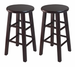24''H Counter Stool with Square Legs in Espresso-Set of 2 [92264-FS-WWT]