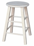 Solid Parawood Round 24''H Backless Counter Stool - Unfinished [1S-524-FS-WHT]
