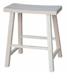 Solid Parawood 24''H Backless Saddle Seat Counter Stool - Unfinished [1S-682-FS-WHT]