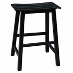 Classic Solid Wood 24''H Saddle Slat Seat Counter Height Stool - Black [S46-782-FS-WHT]