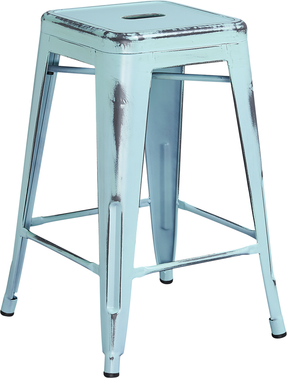 24 39 39 high backless distressed dream blue metal indoor outdoor counter height stool et bt3503 24 - Aluminum counter height stools ...