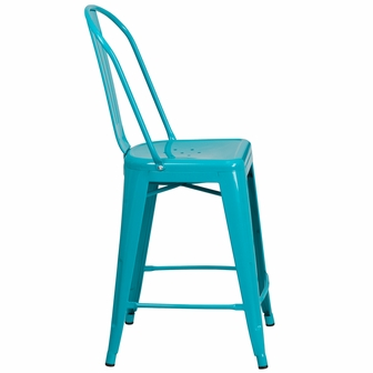 24 39 39 high crystal teal blue metal indoor outdoor counter height stool with back et 3534 24 cb - Teal blue bar stools ...
