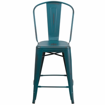 24 39 39 high distressed kelly blue teal metal indoor outdoor counter height stool with back et - Teal blue bar stools ...