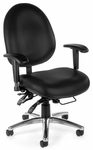 24 Hour Big & Tall Anti-Microbial and Anti-Bacterial Vinyl Task Chair - Black [247-VAM-606-FS-MFO]