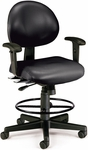 24 Hour Anti-Microbial and Anti-Bacterial Vinyl Task Chair with Arms and Drafting Kit - Black [241-VAM-AADK-66-FS-MFO]