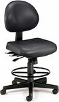 24 Hour Anti-Microbial and Anti-Bacterial Vinyl Task Chair with Drafting Kit - Black [241-VAM-DK-606-FS-MFO]