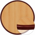 24'' Round 2-Tone High-Gloss Cherry Resin Table Top with 2'' Thick Mahogany Edge