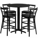 24'' Round Black Laminate Table Set with Ladder Back Metal Barstool and Black Vinyl Seat, Seats 4 [REST-009-BK-BK-FS-TDR]