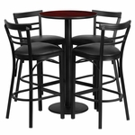24'' Round Mahogany Laminate Table Set with Ladder Back Metal Barstool and Black Vinyl Seat, Seats 4 [REST-019-BK-MAH-FS-TDR]